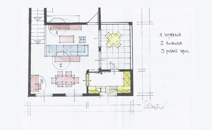 Idejna skica tlocrta prostora dnevnog boravka varijanta 2