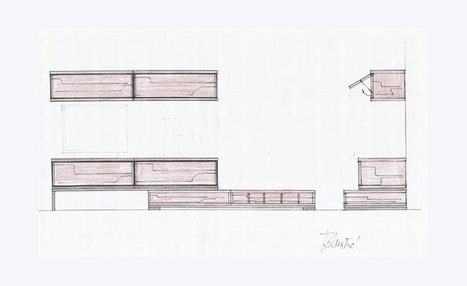Idejna skica tlocrta prostora dnevnog boravka varijanta 3